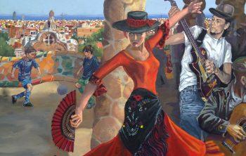 Détail de la danseuse de Flamenco de la fresque de Barcelone
