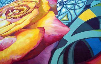 Détails des rosace et rose en trompe l'oeil, pour apprécier les nuances et les fondus