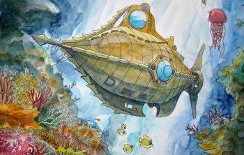 Détail de la maquette du tunnel Pierre Sémard : le Nautilus en pleine action
