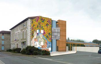 Intégration (projection) de la maquette 3 sur le mur de l'École de la Mayette