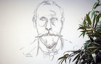 Portrait esquissé Francis Lefebvre finalisé, dans le patio